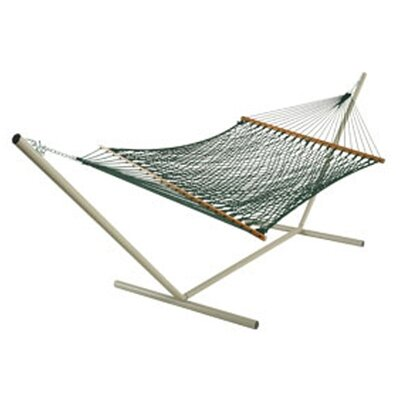 Deluxe Rope Polyester Hammock Color: Green