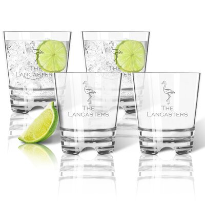 Personalized Tritan 12 oz. 4 Piece Old Fashioned Glass ACL-TDOF12S4-pd-flamingo-copperplate
