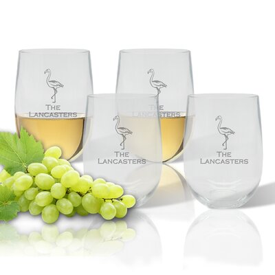 Personalized Flamingo 14 oz. Stemless Wine Glass ACL-UBWT14S4-pd-flamingo-copperplate