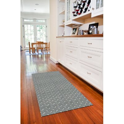 Fo Flor Diamond Plate Doormat Rug Size: 25 x 60, Color: Grey