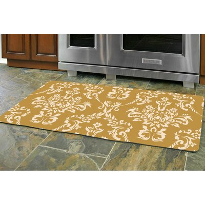 Justina Damask Kitchen Mat Rug Size: 22 x 52 Runner, Color: Harvest Gold