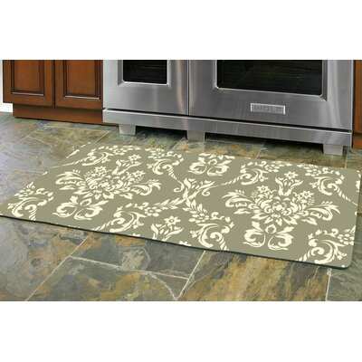 Justina Damask Kitchen Mat Rug Size: 22 x 52 Runner, Color: Sage