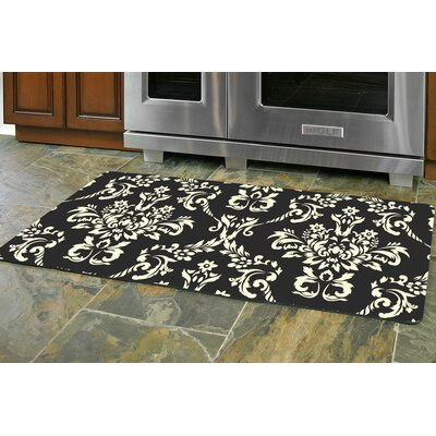 Justina Damask Kitchen Mat Mat Size: 22 x 52 Runner, Color: Onyx