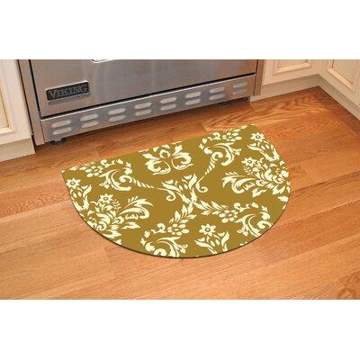 Justina Damask Kitchen Mat Rug Size: 22 x 31 Half Round, Color: Harvest Gold