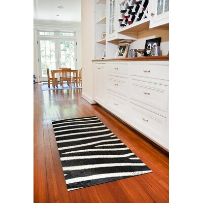 Fo Flor Zebra Doormat Rug Size: 23 x 36, Color: Black & White