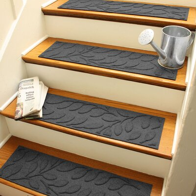 Aqua Shield Charcoal Brittany Leaf Stair Tread