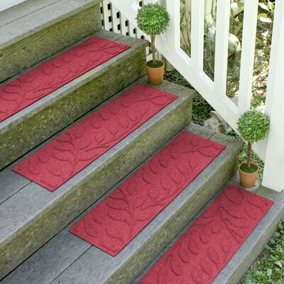 Aqua Shield Red Brittany Leaf Stair Tread