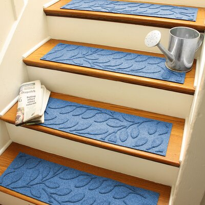 Aqua Shield Medium Blue Brittany Leaf Stair Tread
