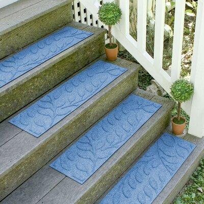 Aqua Shield Medium Blue Brittany Leaf Stair Tread