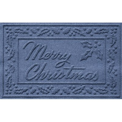 Aqua Shield Merry Christmas Doormat Color: Navy