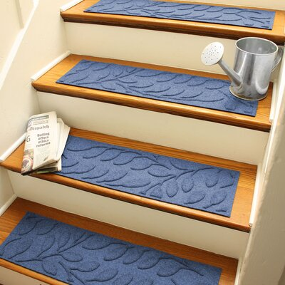 Aqua Shield Navy Brittany Leaf Stair Tread