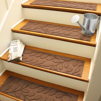 Aqua Shield Dark Brown Brittany Leaf Stair Tread