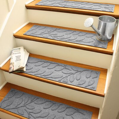 Aqua Shield Medium Gray Brittany Leaf Stair Tread