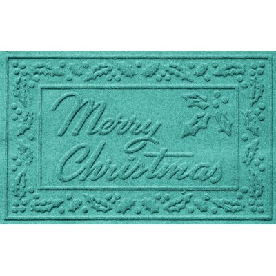 Aqua Shield Merry Christmas Doormat Color: Aquamarine