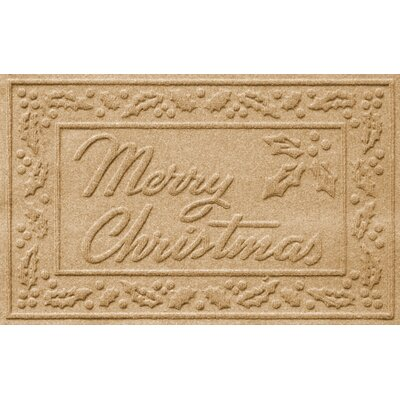 Aqua Shield Merry Christmas Doormat Color: Gold