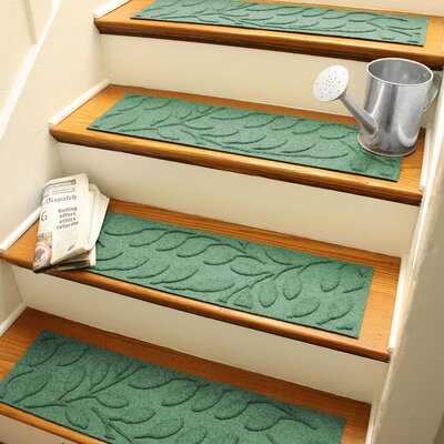 Aqua Shield Light Green Brittany Leaf Stair Tread