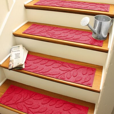 Aqua Shield Solid Red Brittany Leaf Stair Tread
