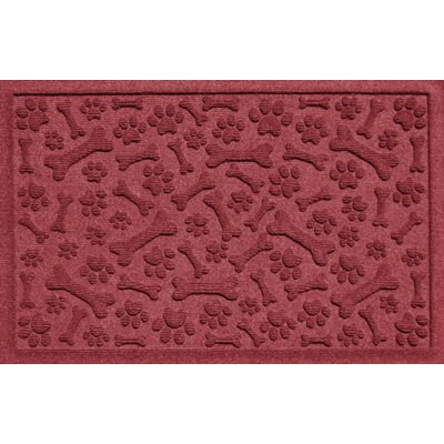 Aqua Shield Paw and Bones Doormat Color: Bordeaux
