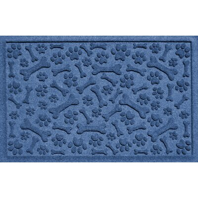 Aqua Shield Paw and Bones Doormat Color: Navy