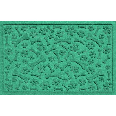 Conway Paw and Bones Doormat Color: Aquamarine