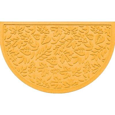 "Bungalow Flooring Aqua Shield Fall Day Mat - Color: Yellow, Rug Size: Half Oval 2' x 3'3"""