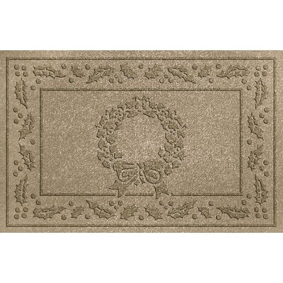Aqua Shield Wreath Doormat Color: Camel