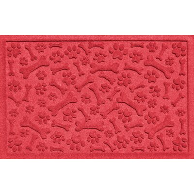 Conway Paw and Bones Doormat Color: Solid Red