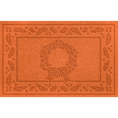 Aqua Shield Wreath Doormat Color: Orange