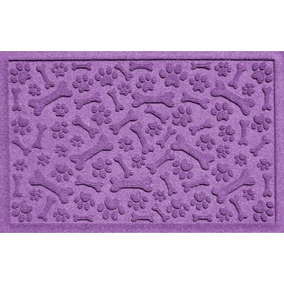 Aqua Shield Paw and Bones Doormat Color: Purple