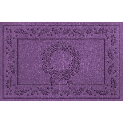 Aqua Shield Wreath Doormat Color: Purple
