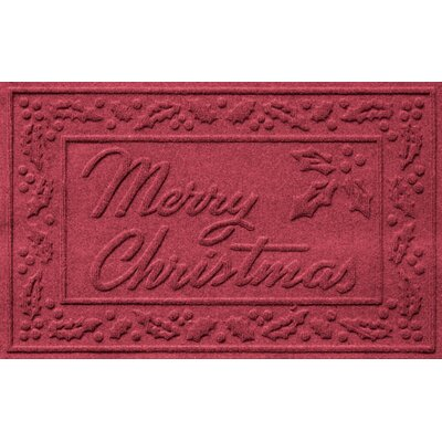 Aqua Shield Merry Christmas Doormat Color: Red