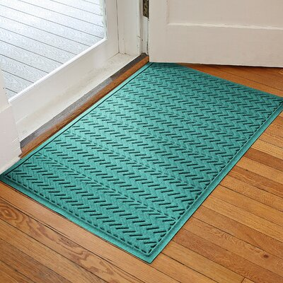Harding Chevron Doormat Rug Size: 3 x 5, Color: Aquamarine