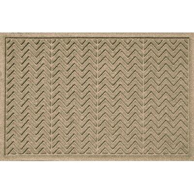 Aqua Shield Chevron Doormat Rug Size: 2 x 3, Color: Camel
