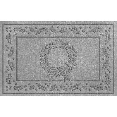 Aqua Shield Wreath Doormat Color: Medium Gray