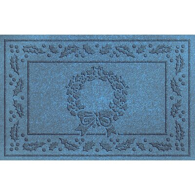 Aqua Shield Wreath Doormat Color: Bluestone
