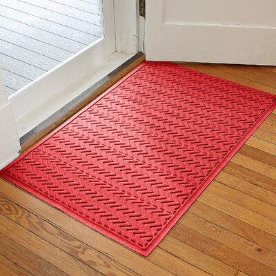 Aqua Shield Chevron Doormat Rug Size: 3 x 5, Color: Solid Red