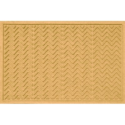 Aqua Shield Chevron Doormat Rug Size: 2 x 3, Color: Yellow