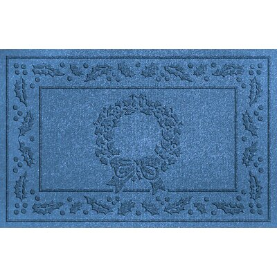 Aqua Shield Wreath Doormat Color: Medium Blue