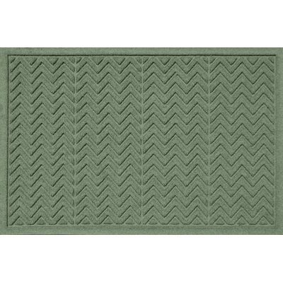 Aqua Shield Chevron Doormat Rug Size: 2 x 3, Color: Light Green
