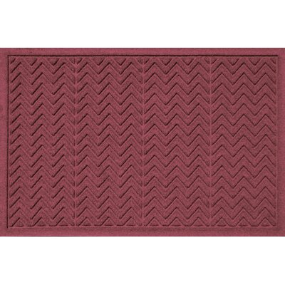 Aqua Shield Chevron Doormat Rug Size: 2 x 3, Color: Red