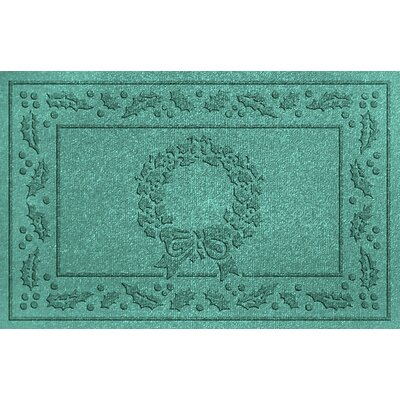 Aqua Shield Wreath Doormat Color: Aquamarine