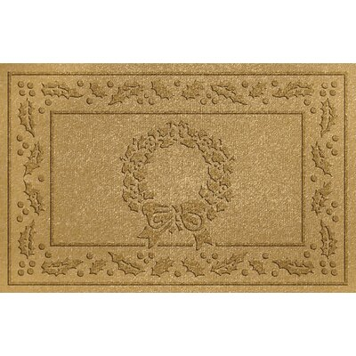 Aqua Shield Wreath Doormat Color: Gold