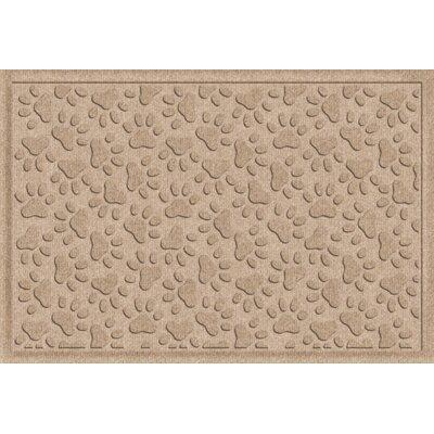 Aqua Shield Scattered Dog Paws Doormat Color: Camel