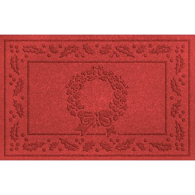 Conway Wreath Doormat Color: Solid Red