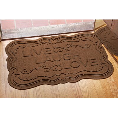 Aqua Shield Live, Laugh, Love Doormat Color: Dark Brown