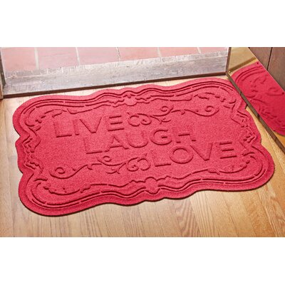 Aqua Shield Live, Laugh, Love Doormat Color: Solid Red