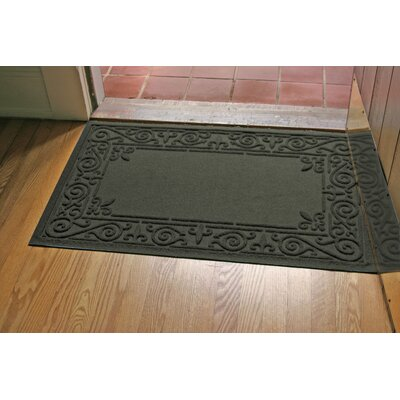Aqua Shield Iron Fleur Doormat Color: Charcoal
