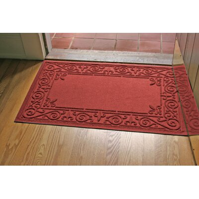 Aqua Shield Iron Fleur Doormat Color: Red