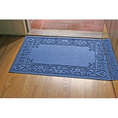 Aqua Shield Iron Fleur Doormat Color: Medium Blue