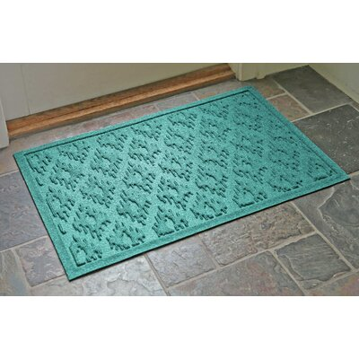 Aqua Shield Ikat Doormat Color: Aquamarine, Rug Size: 22 x 31